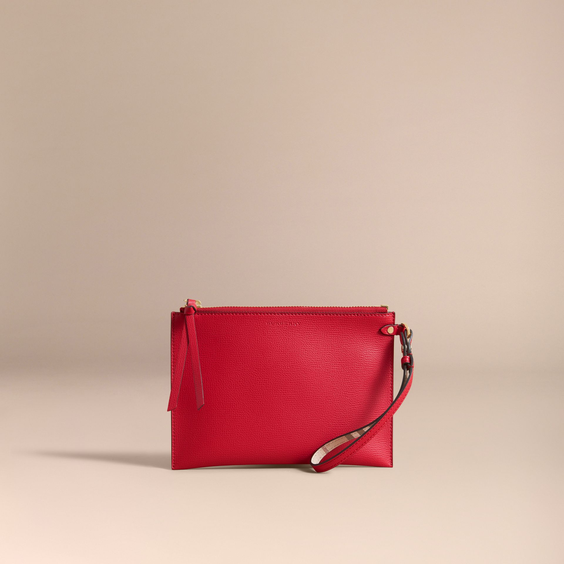Haymarket Check and Leather Pouch in Poppy Red - Women | Burberry Canada - gallery image 6