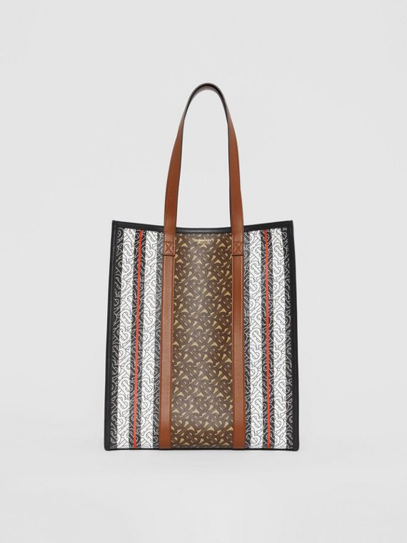 Monogram Stripe E-canvas Portrait Tote Bag in Bridle Brown