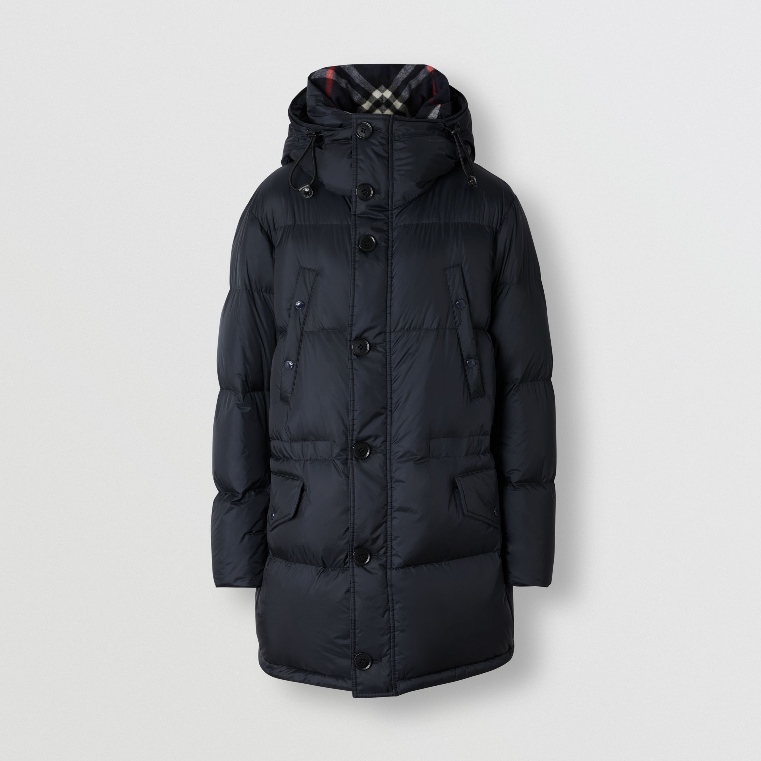 Logo Detail Hooded Puffer Coat in Navy - Men | Burberry - 4