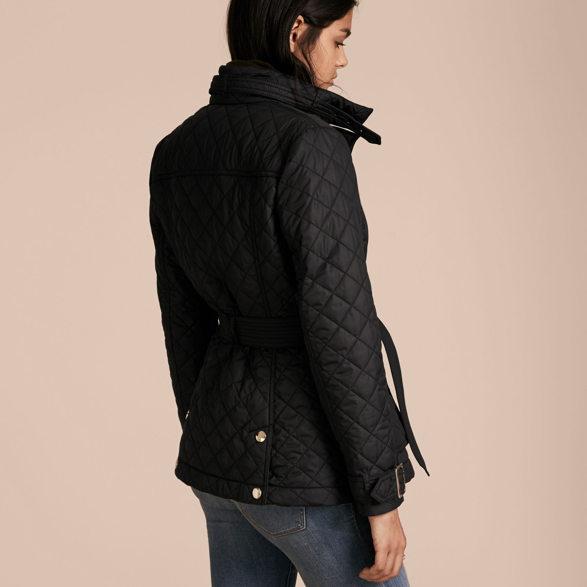 Black Buckle Detail Technical Field Jacket Black - gallery image 3