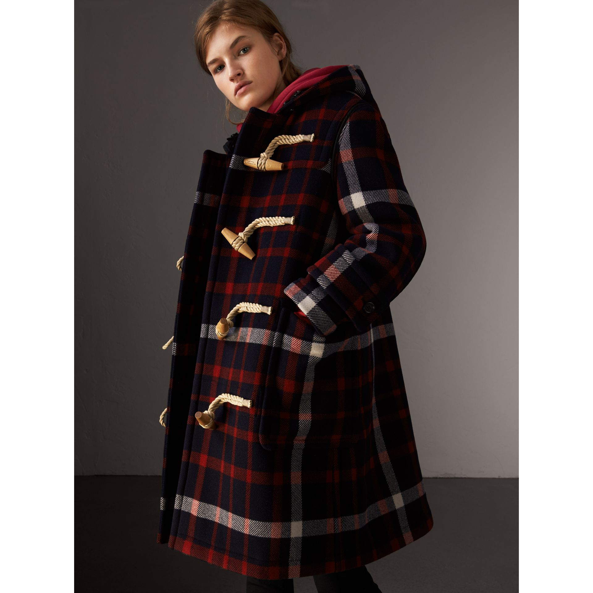 Check Wool Duffle Coat with Detachable Warmer in Navy/black - Women | Burberry - gallery image 1