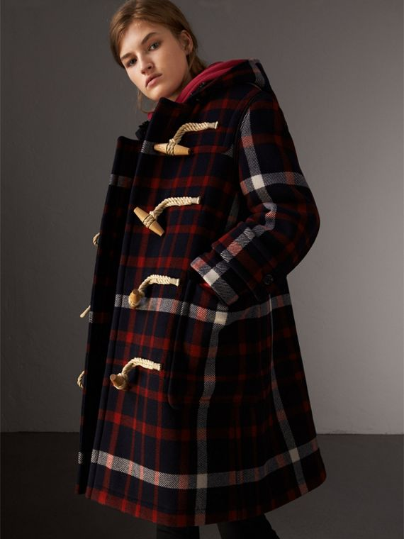 Check Wool Duffle Coat with Detachable Warmer in Navy/black