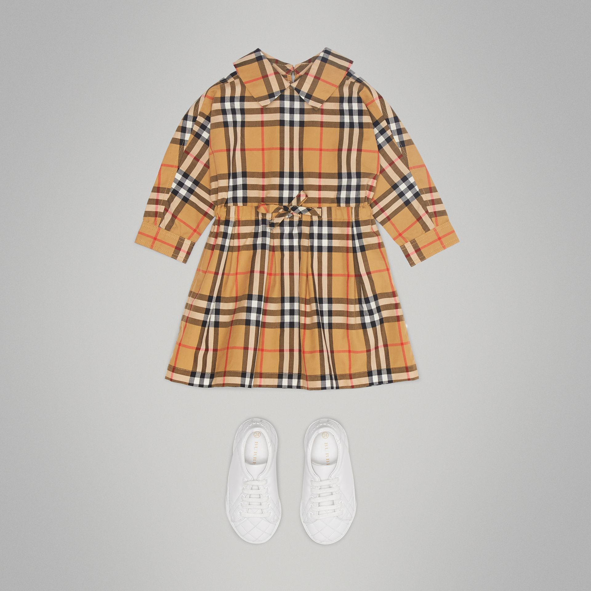 Vintage Check Cotton Drawcord Dress in Antique Yellow | Burberry - gallery image 2