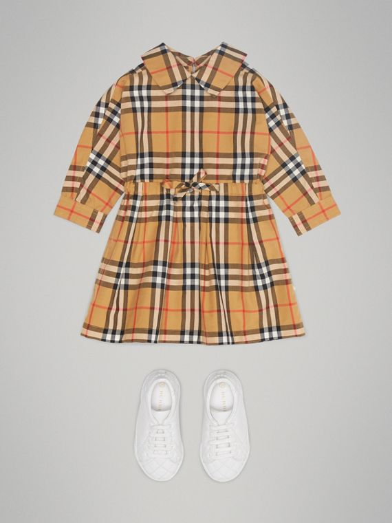 Vestitino con coulisse in cotone con motivo Vintage check (Giallo Antico) | Burberry - cell image 2