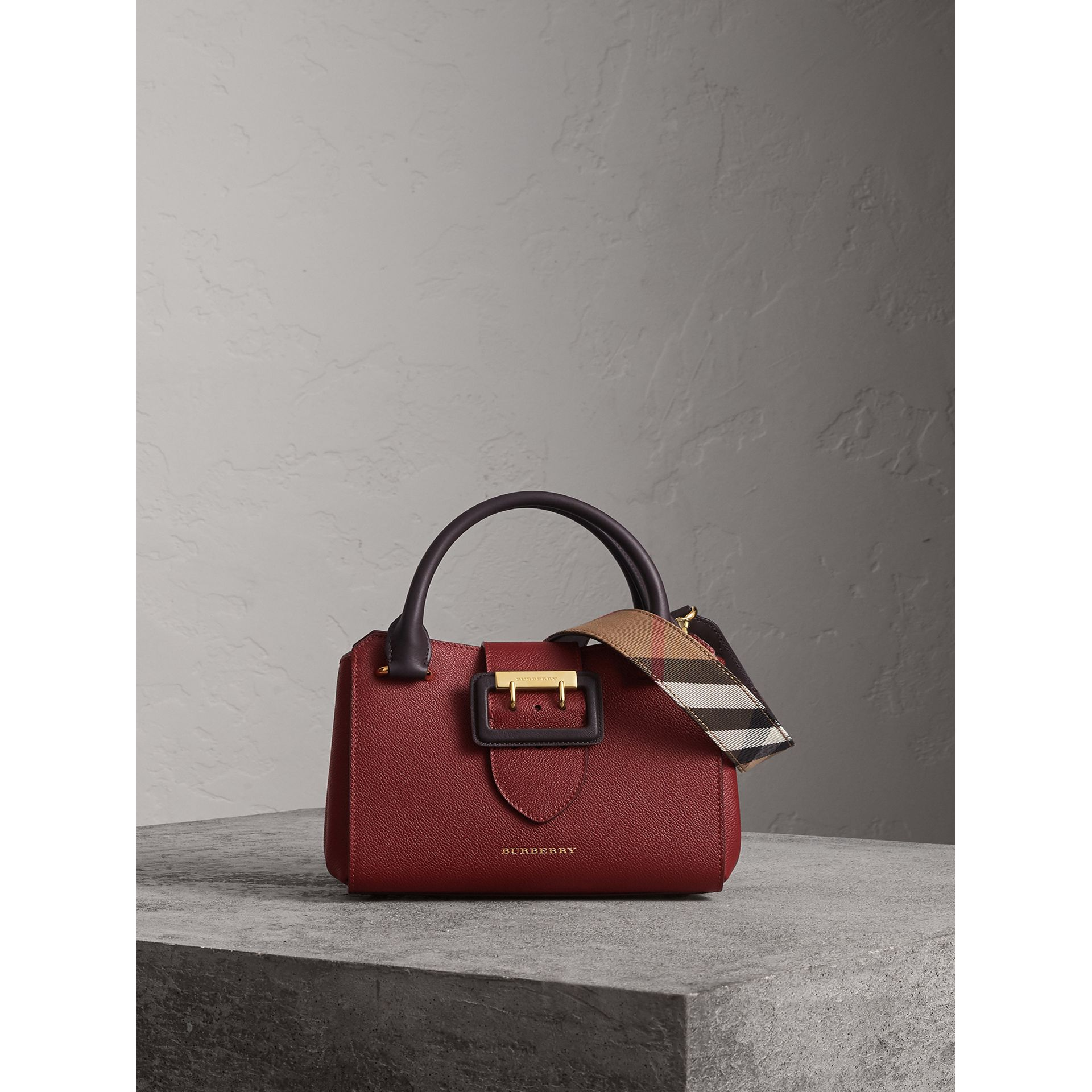 The Small Buckle Tote in Two-tone Leather in Burgundy - Women | Burberry United Kingdom - gallery image 1