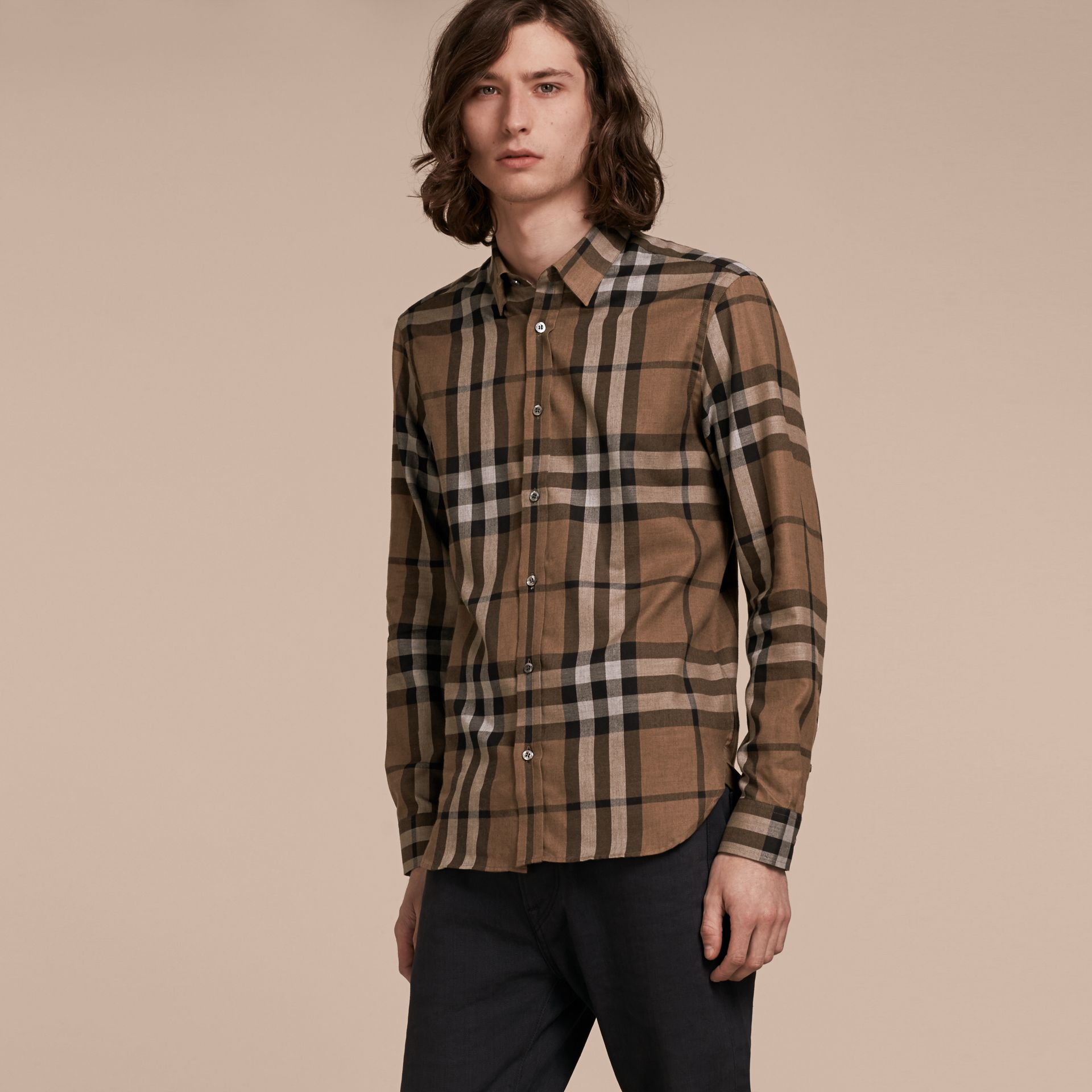 Check Cotton Cashmere Flannel Shirt in Walnut - Men | Burberry - gallery image 6