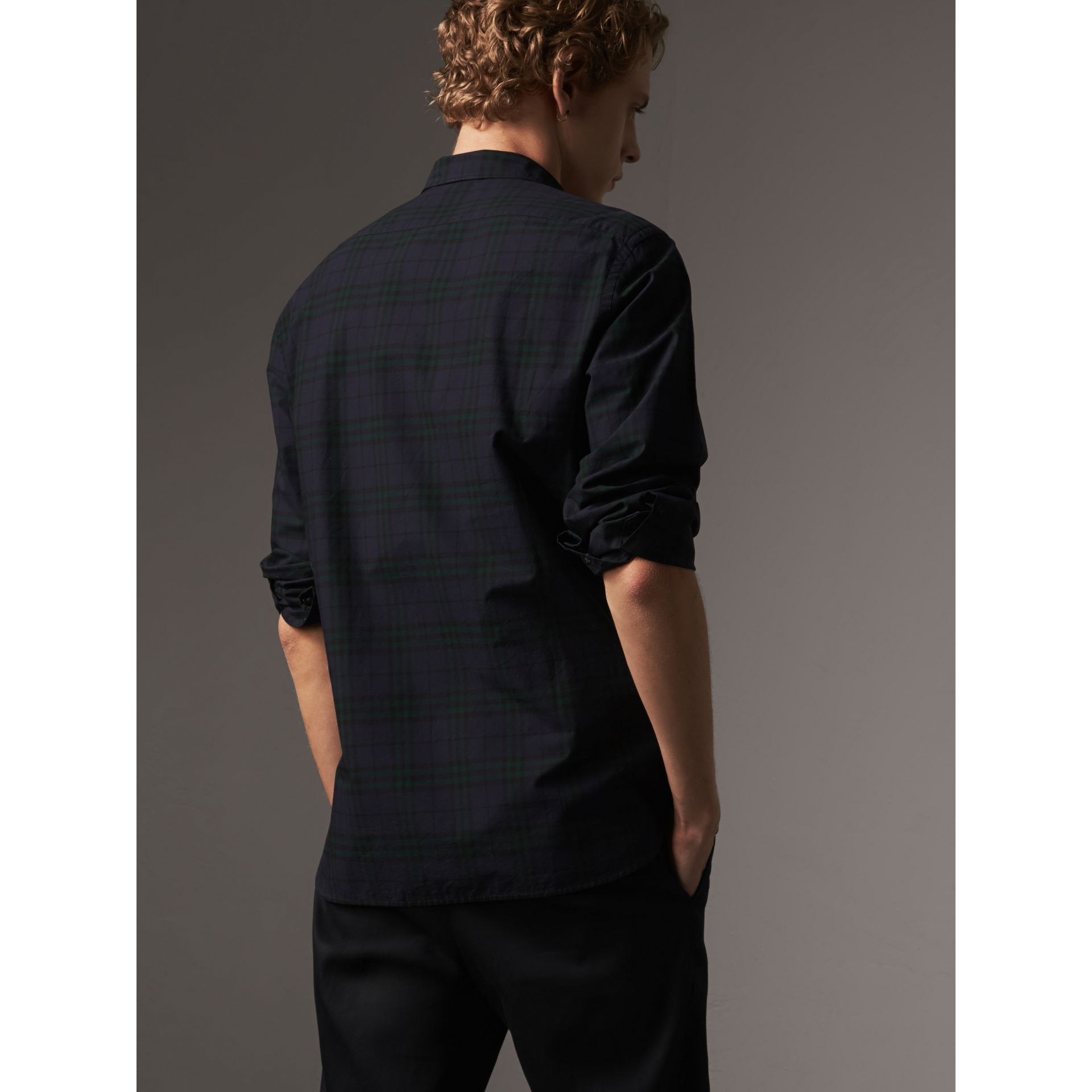 Check Cotton Shirt in Ink Blue - Men | Burberry - gallery image 2