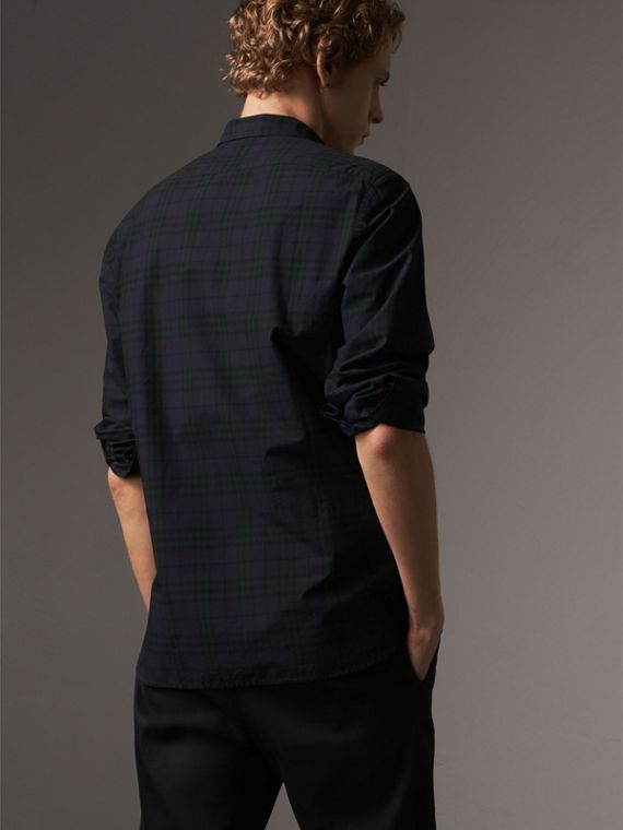 Check Cotton Shirt in Ink Blue - Men | Burberry - cell image 2