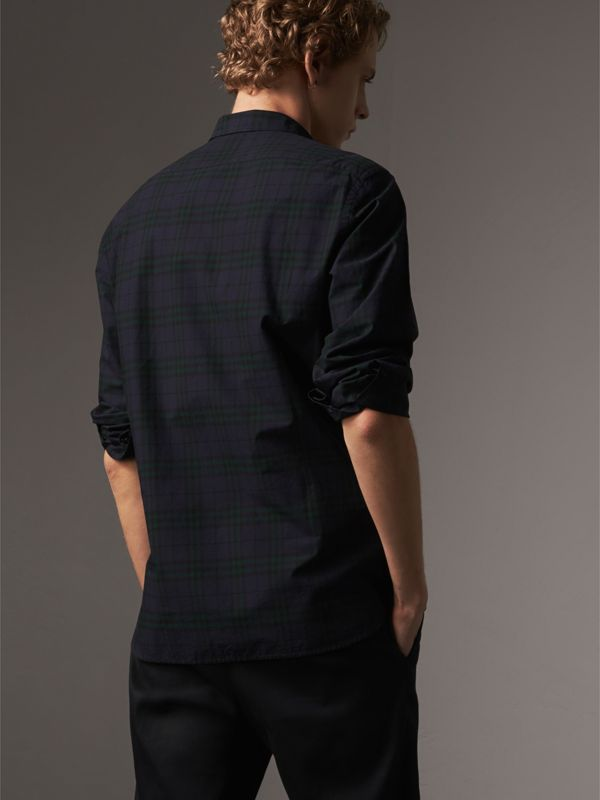Check Cotton Shirt in Ink Blue - Men | Burberry Australia - cell image 2