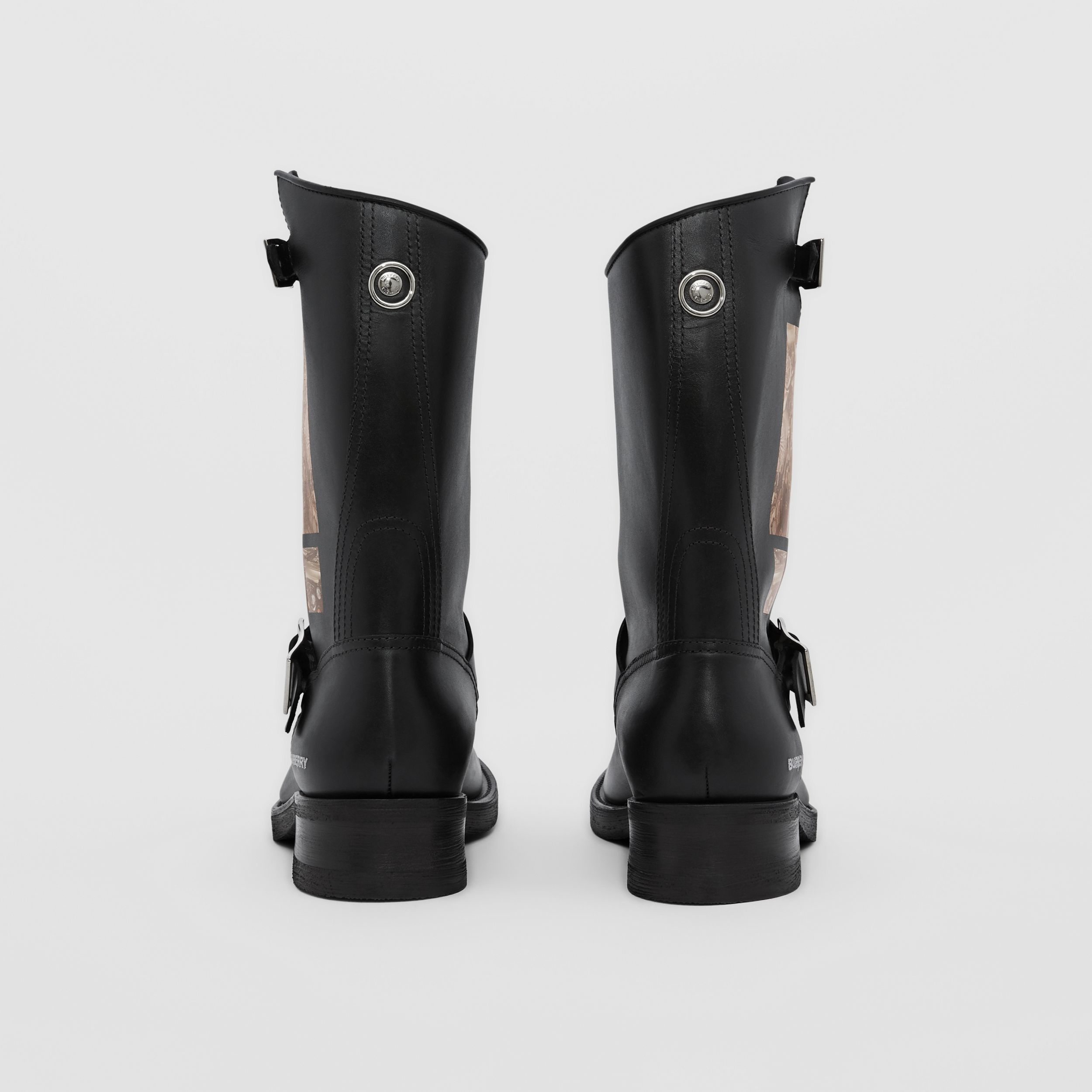 Montage Print Leather Biker Boots in Black - Men | Burberry Singapore - 4