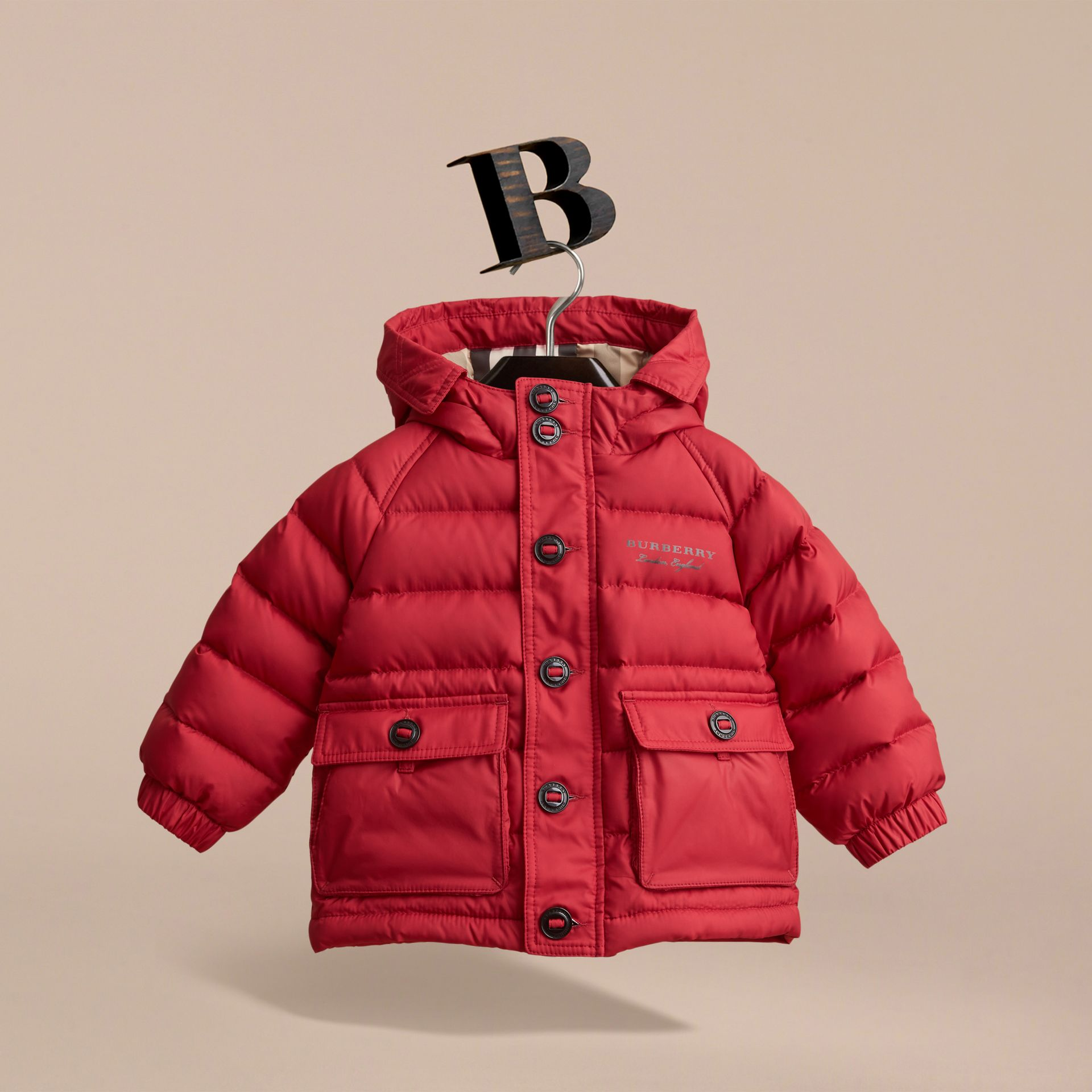 Shower-resistant Hooded Puffer Jacket in Parade Red | Burberry - gallery image 3
