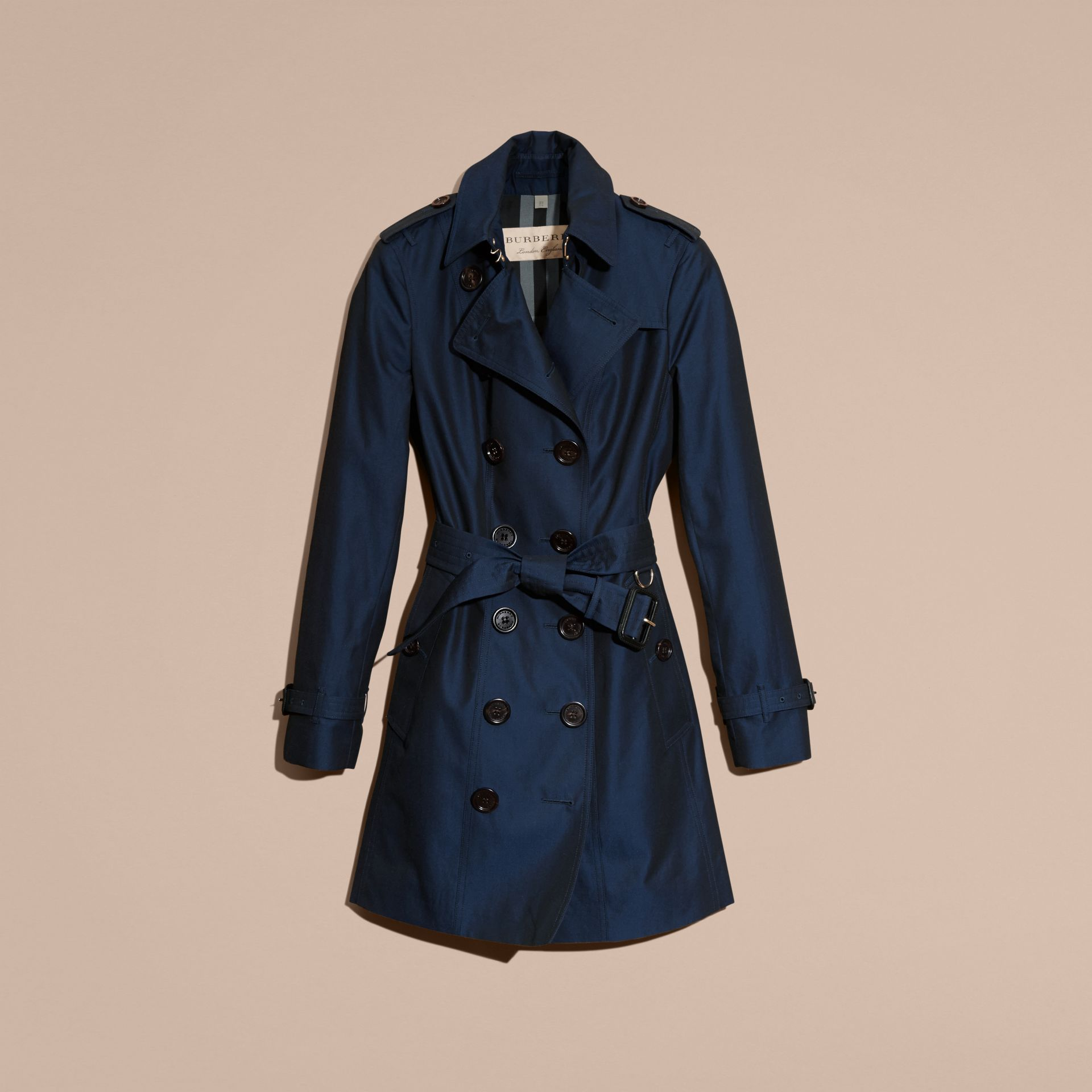 Bright regency blue Cotton Gabardine Trench Coat Bright Regency Blue - gallery image 4