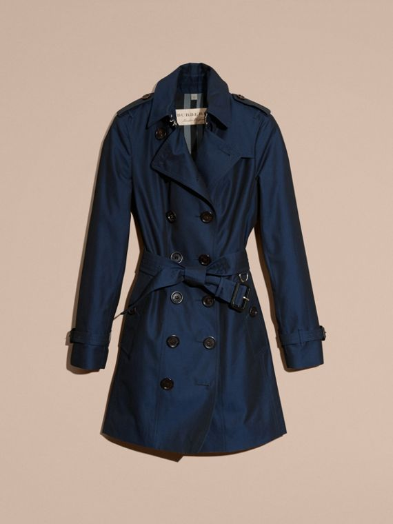 Trench coat in gabardine di cotone Blu Reggenza Intenso - cell image 3