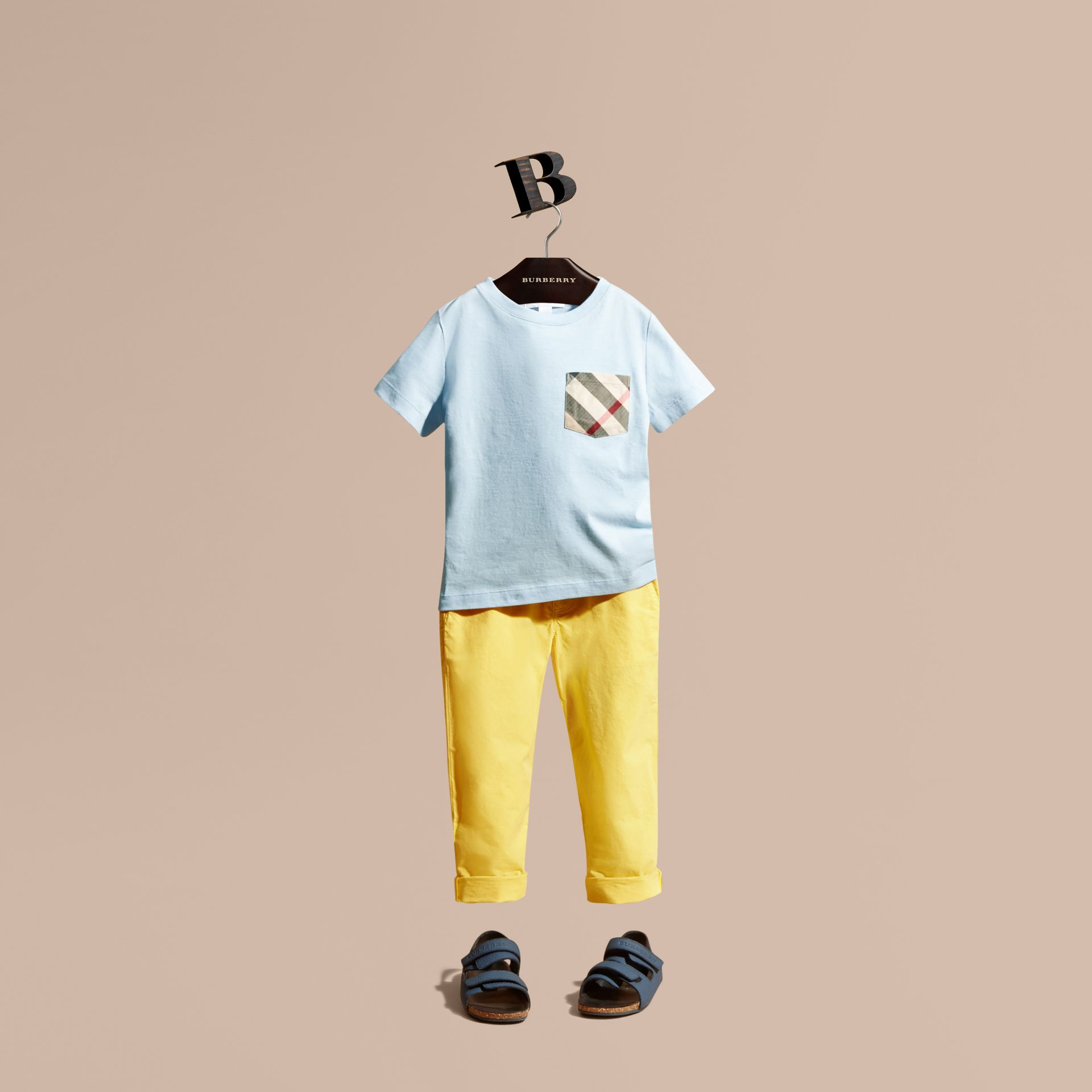 Check Pocket Cotton T-shirt in Light Blue - gallery image 1