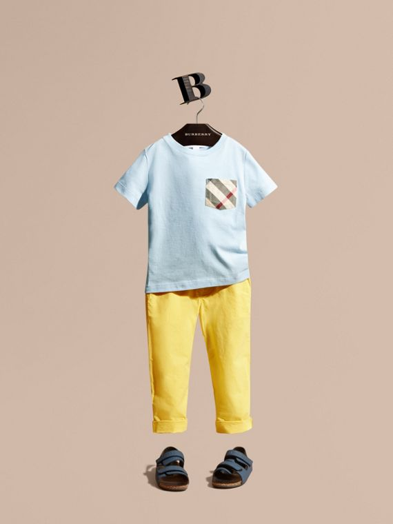 Check Pocket T-Shirt Light Blue