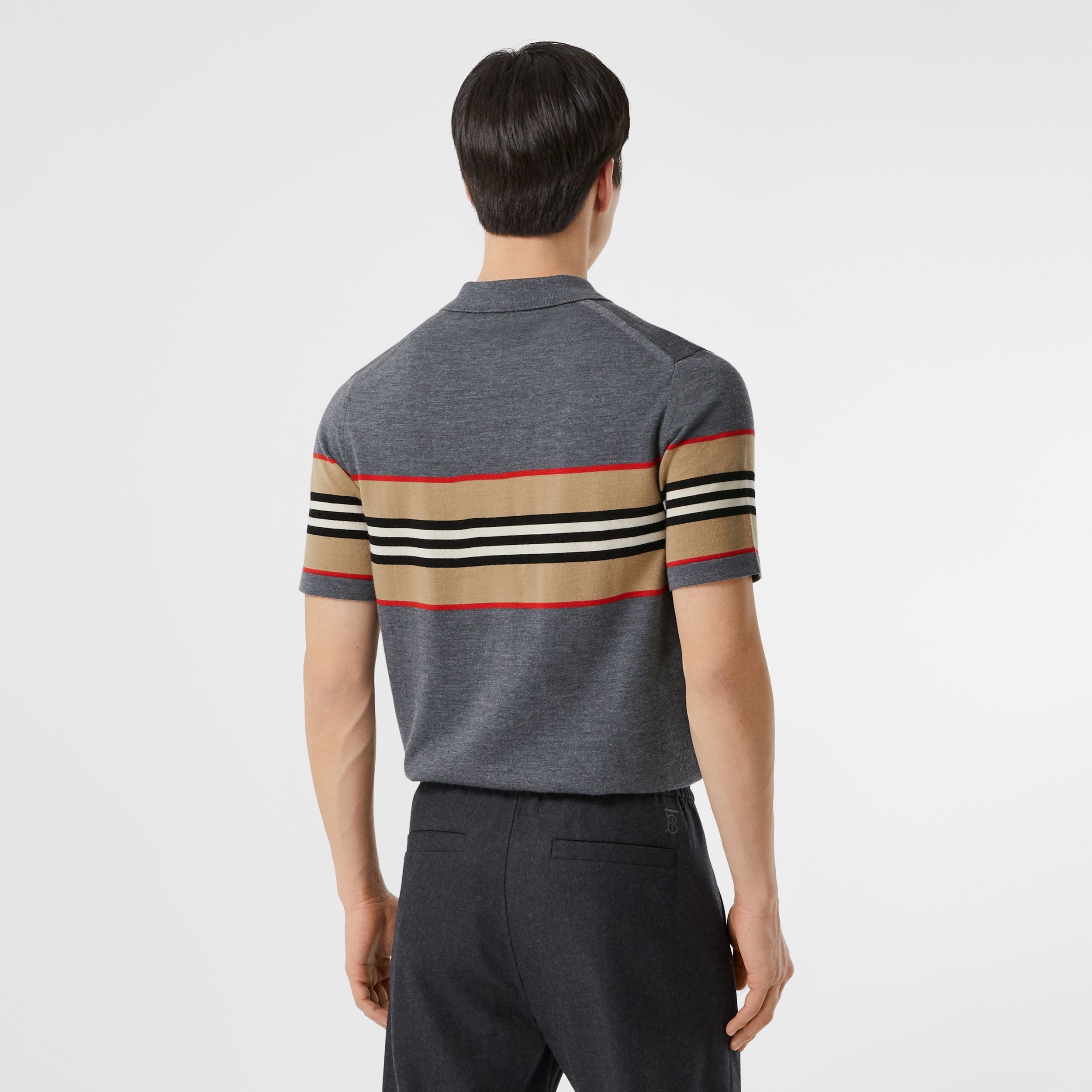 Icon Stripe Detail Merino Wool Polo Shirt in Dark Grey Melange - Men | Burberry - 3