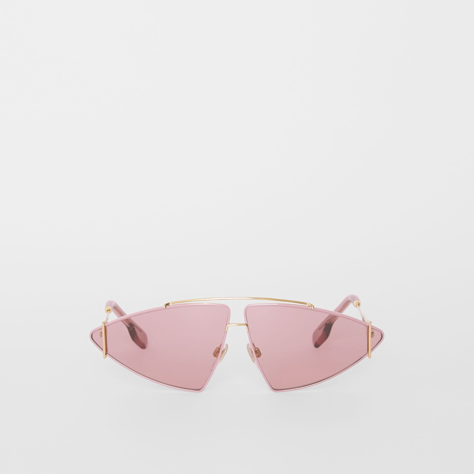 Gold-plated Triangular Frame Sunglasses in Blush Pink - Women | Burberry United Kingdom - gallery image 0