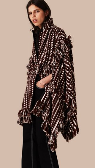 Fringed Wool Silk Cape Coat