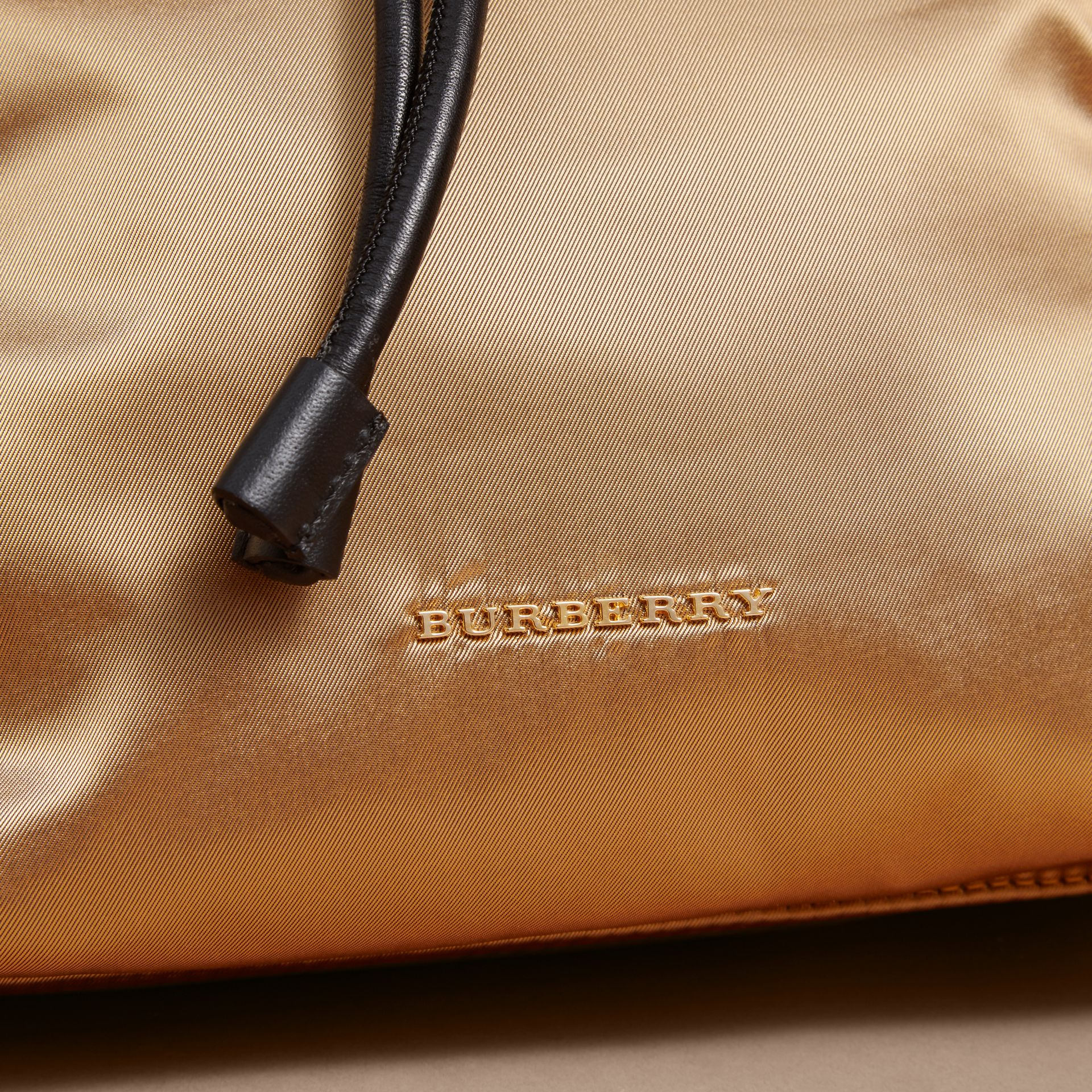 The Medium Rucksack in Two-tone Nylon and Leather Gold/black - gallery image 6