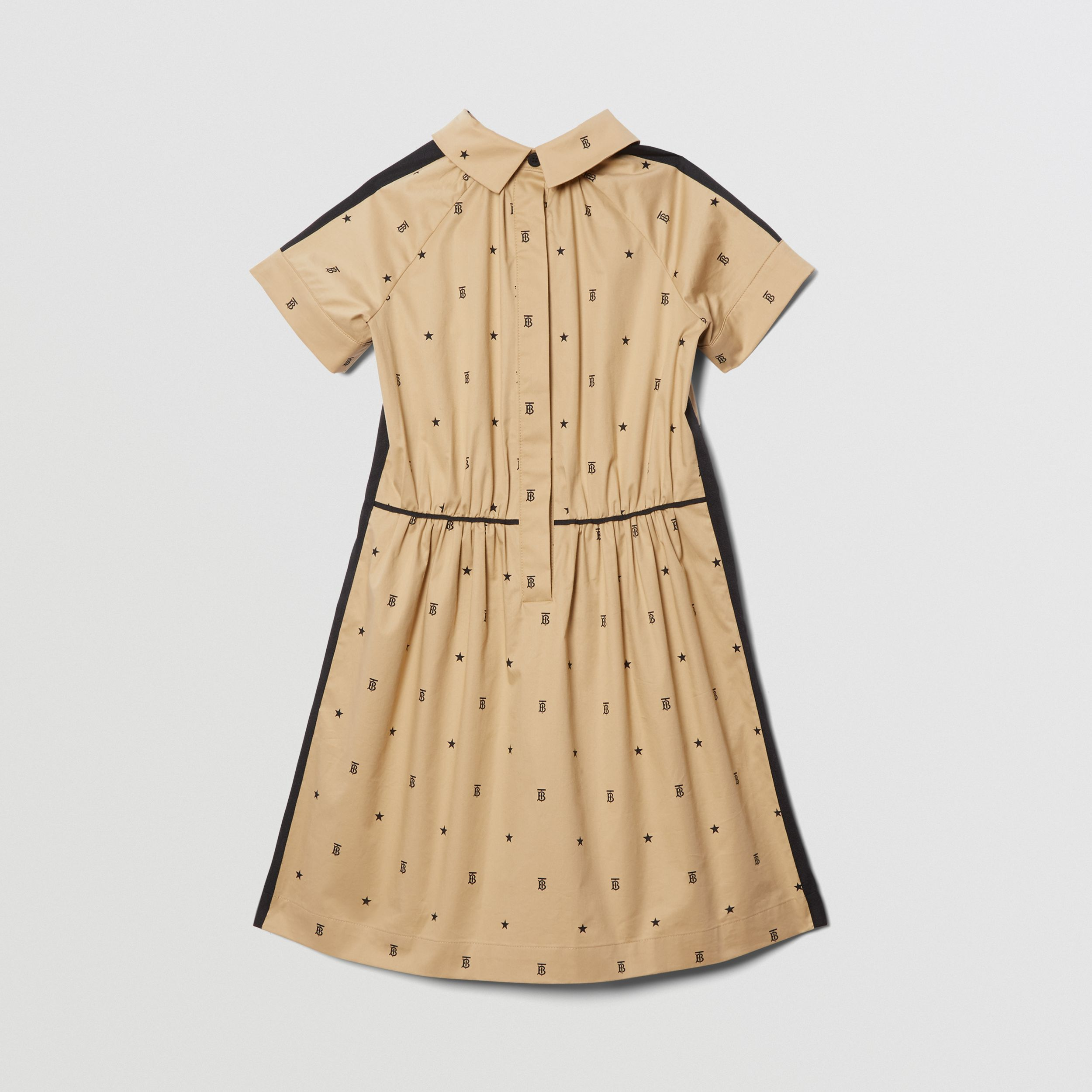 Star and Monogram Motif Stretch Cotton Dress in Sand | Burberry - 4