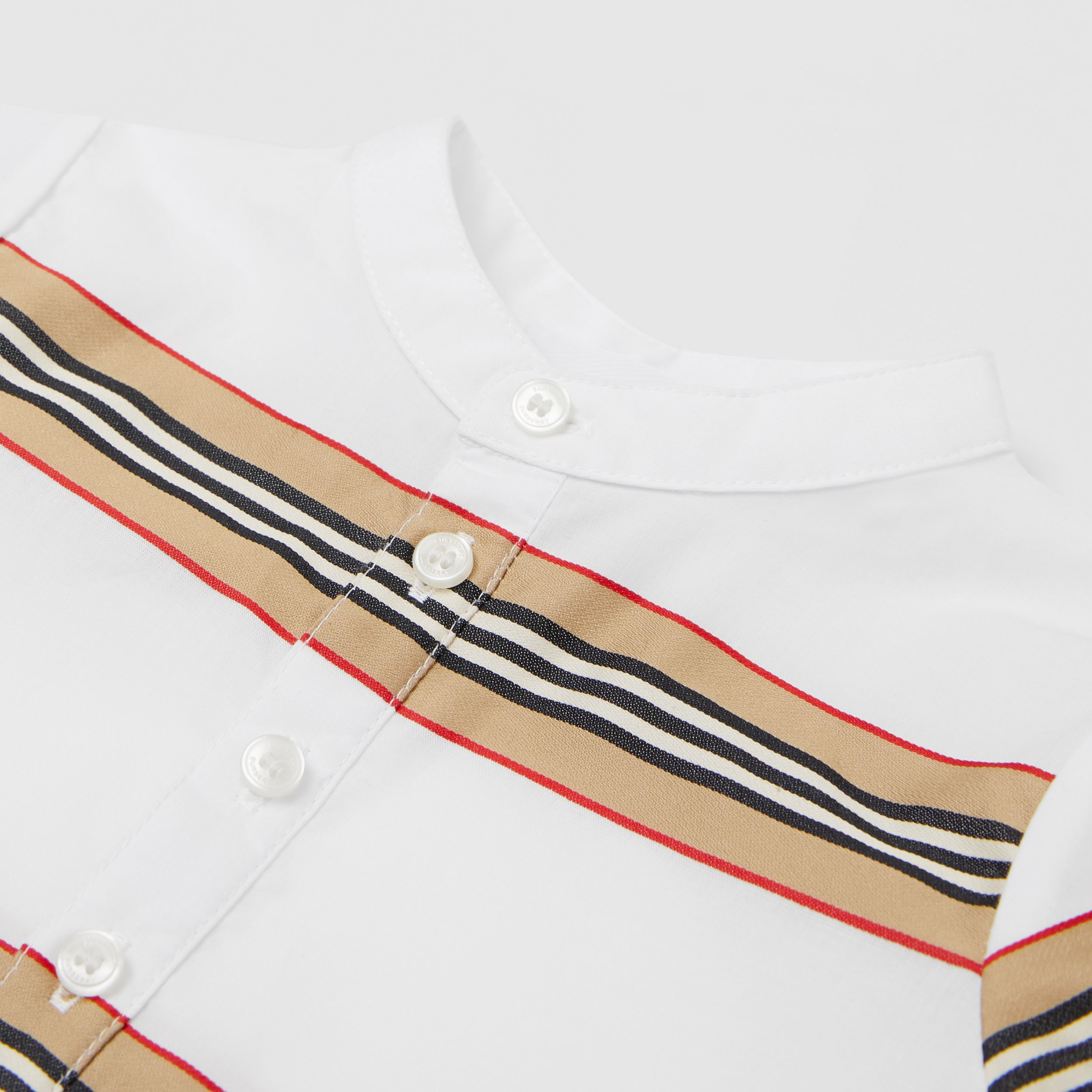 Icon Stripe Cotton Playsuit in White - Children | Burberry - 2