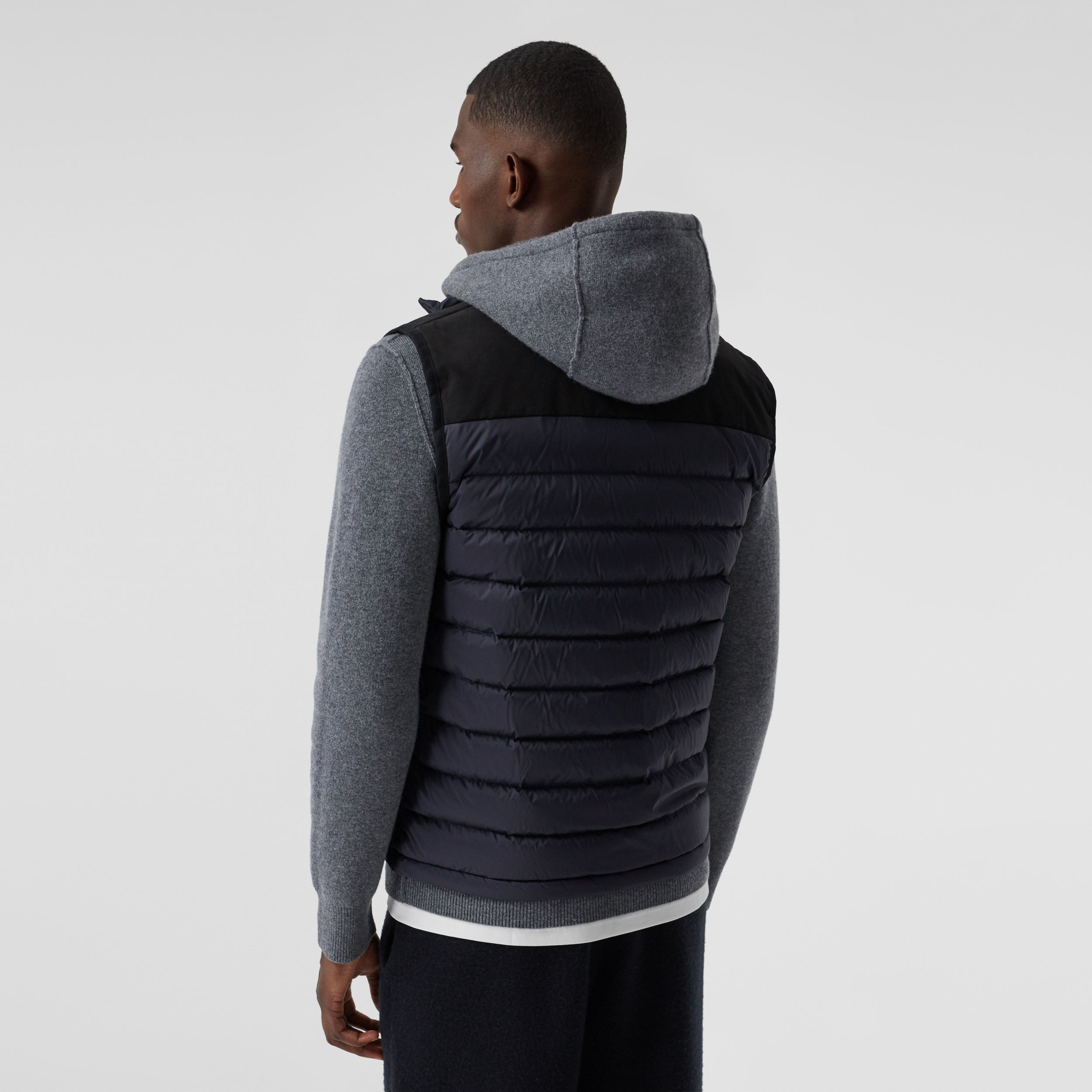 Logo Appliqué Lightweight Puffer Gilet in Navy - Men | Burberry - 3