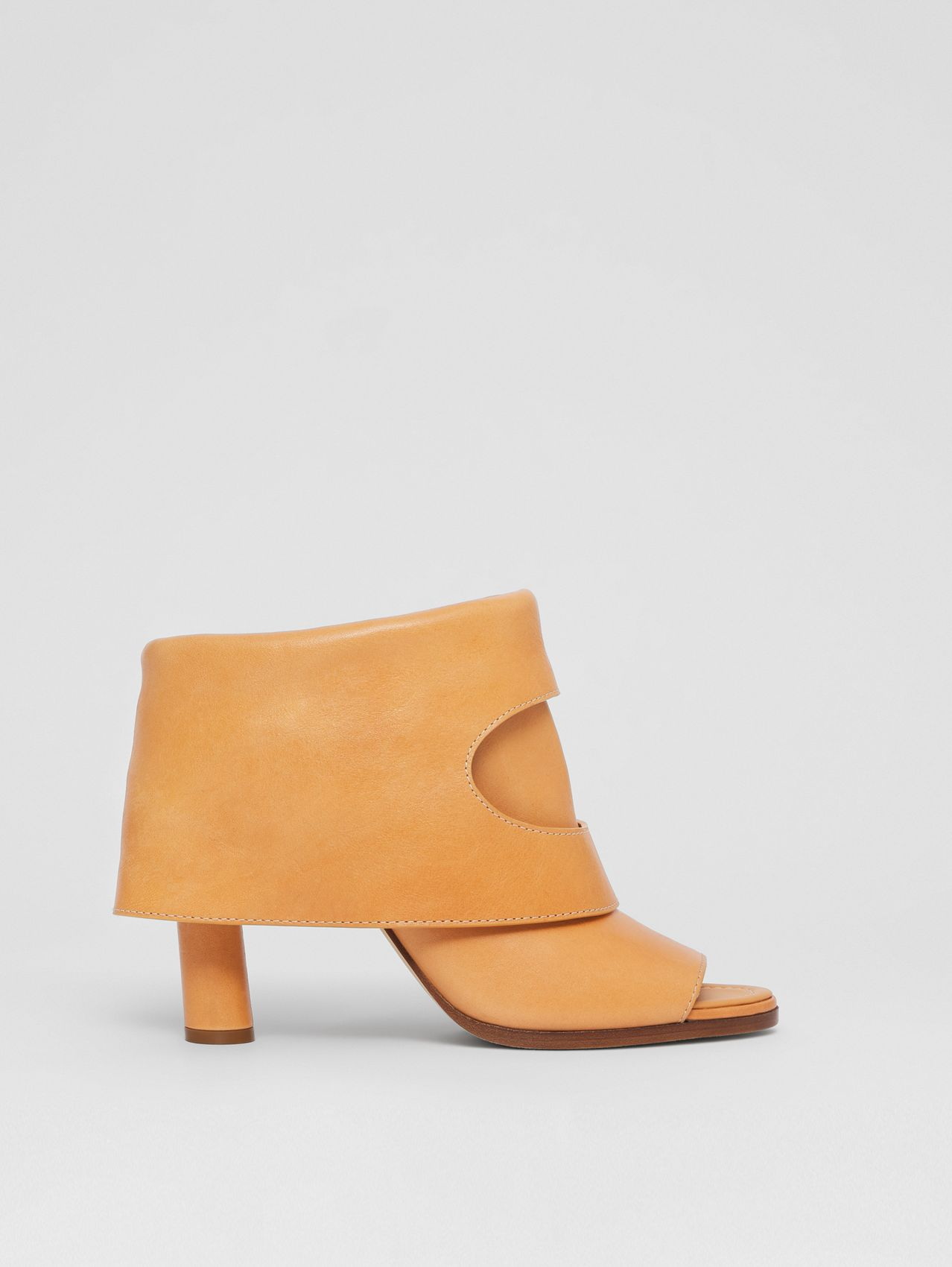 Porthole Detail Leather Peep-toe Boots in Light Chestnut