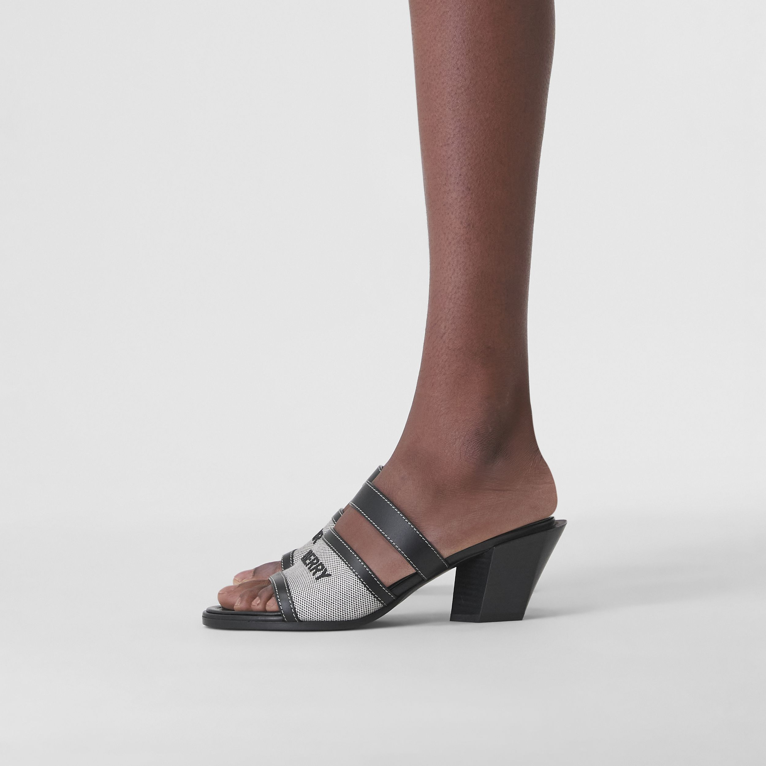 Logo Print Canvas and Leather Mules in Black - Women | Burberry Hong Kong S.A.R. - 3
