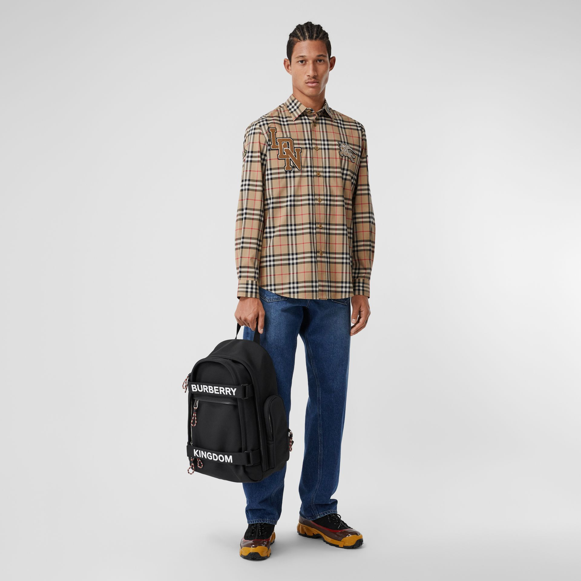 Classic Fit Logo Graphic Vintage Check Cotton Shirt in Archive Beige - Men | Burberry - gallery image 5