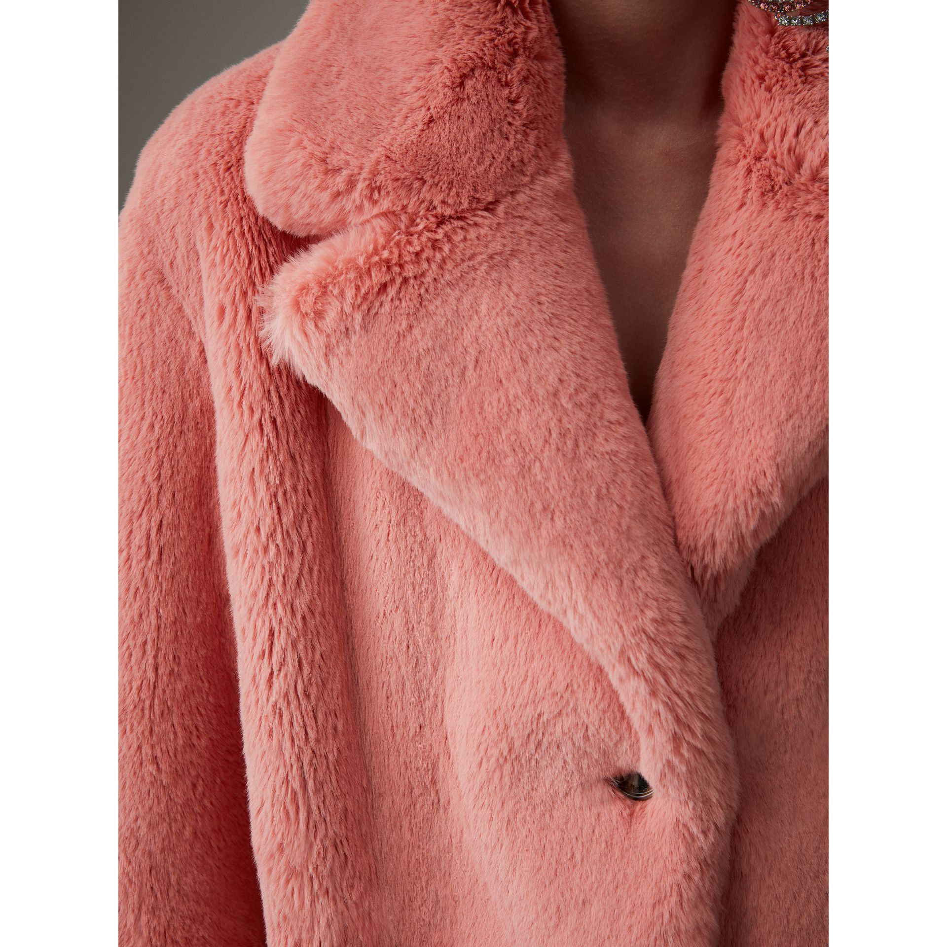 Faux Fur Single-breasted Coat in Pale Pink - Women | Burberry United Kingdom - gallery image 1