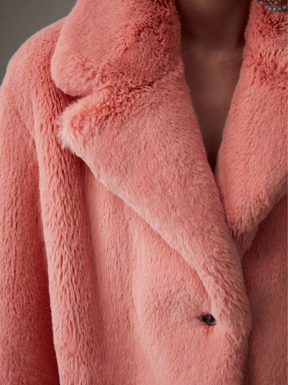 Faux Fur Single-breasted Coat in Pale Pink - Women | Burberry - cell image 1
