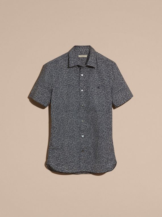 Navy Short-sleeved Dash Print Cotton Shirt Navy - cell image 3