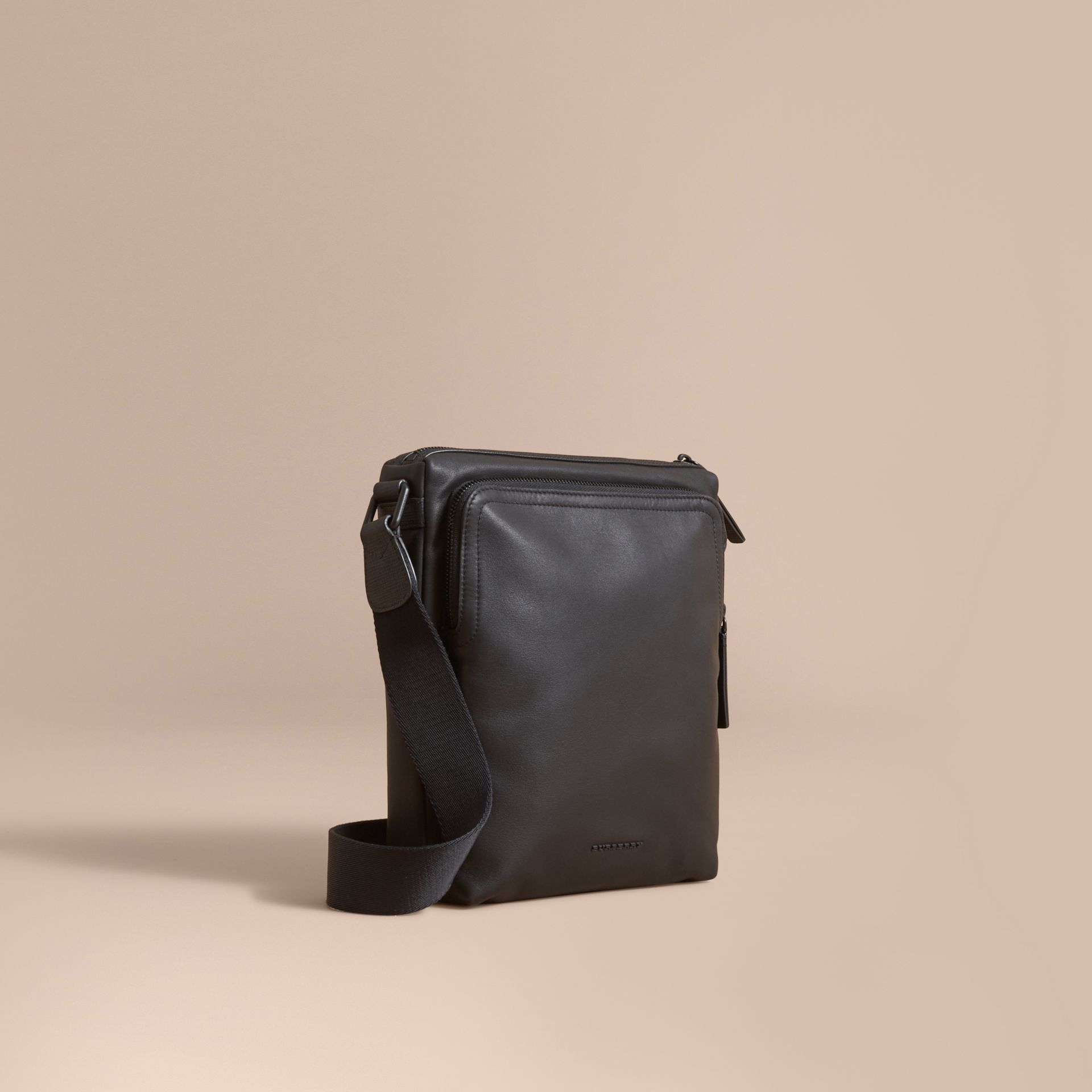 Leather Crossbody Bag in Black - Men | Burberry Australia - gallery image 1