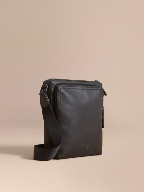 Leather Crossbody Bag in Black