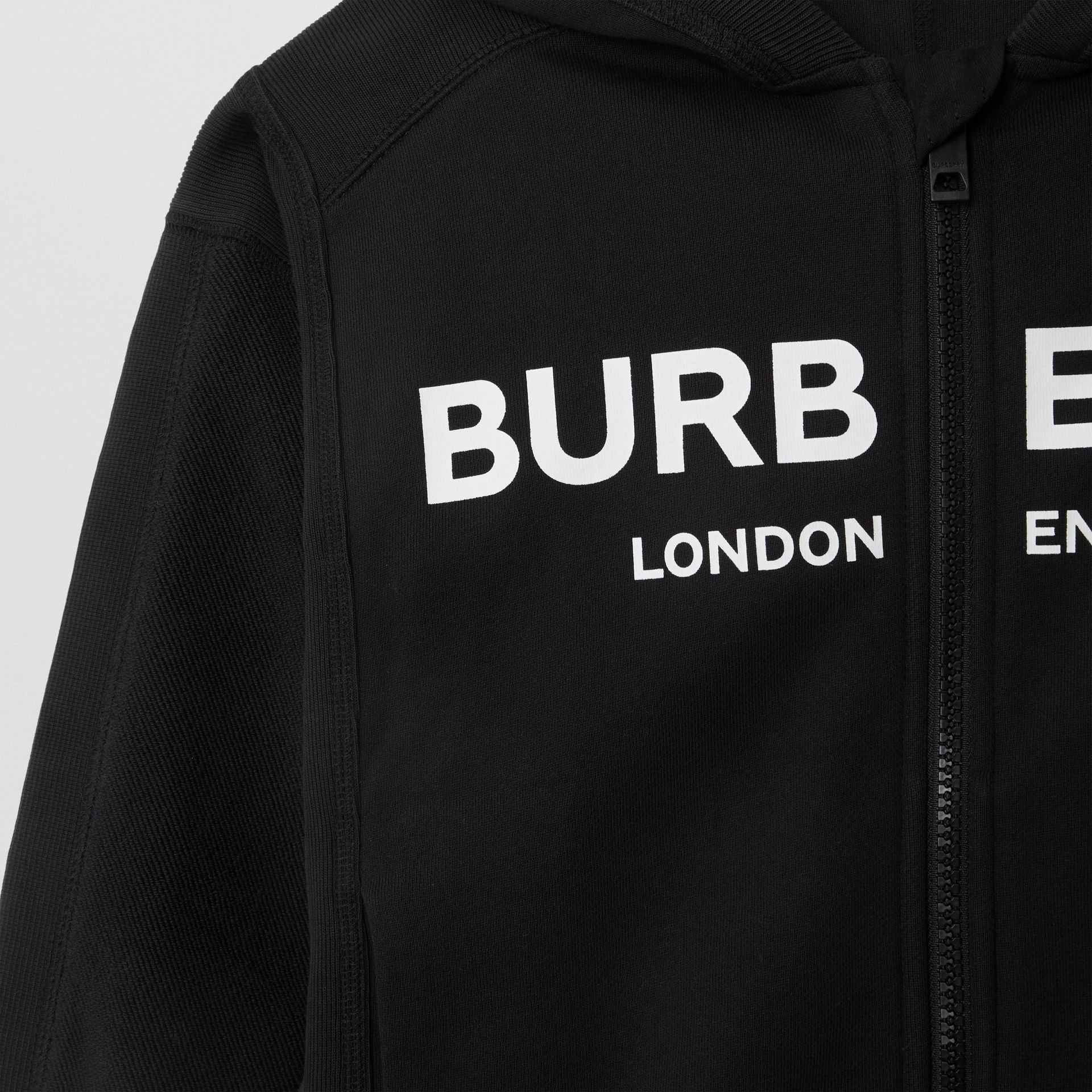 Logo Print Cotton Hooded Top in Black | Burberry - gallery image 5