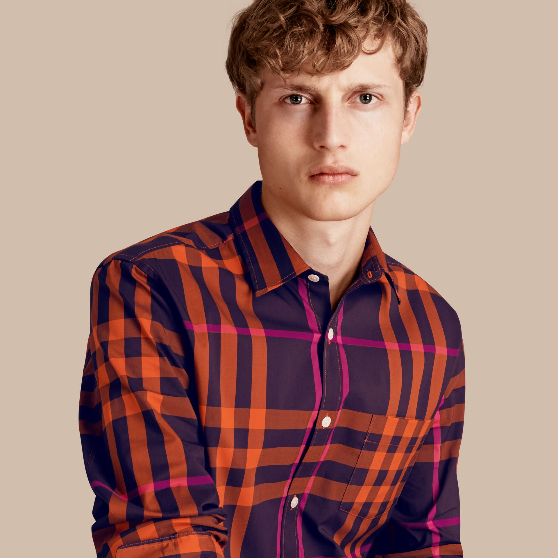 Clementine Check Stretch Cotton Shirt Clementine - gallery image 1
