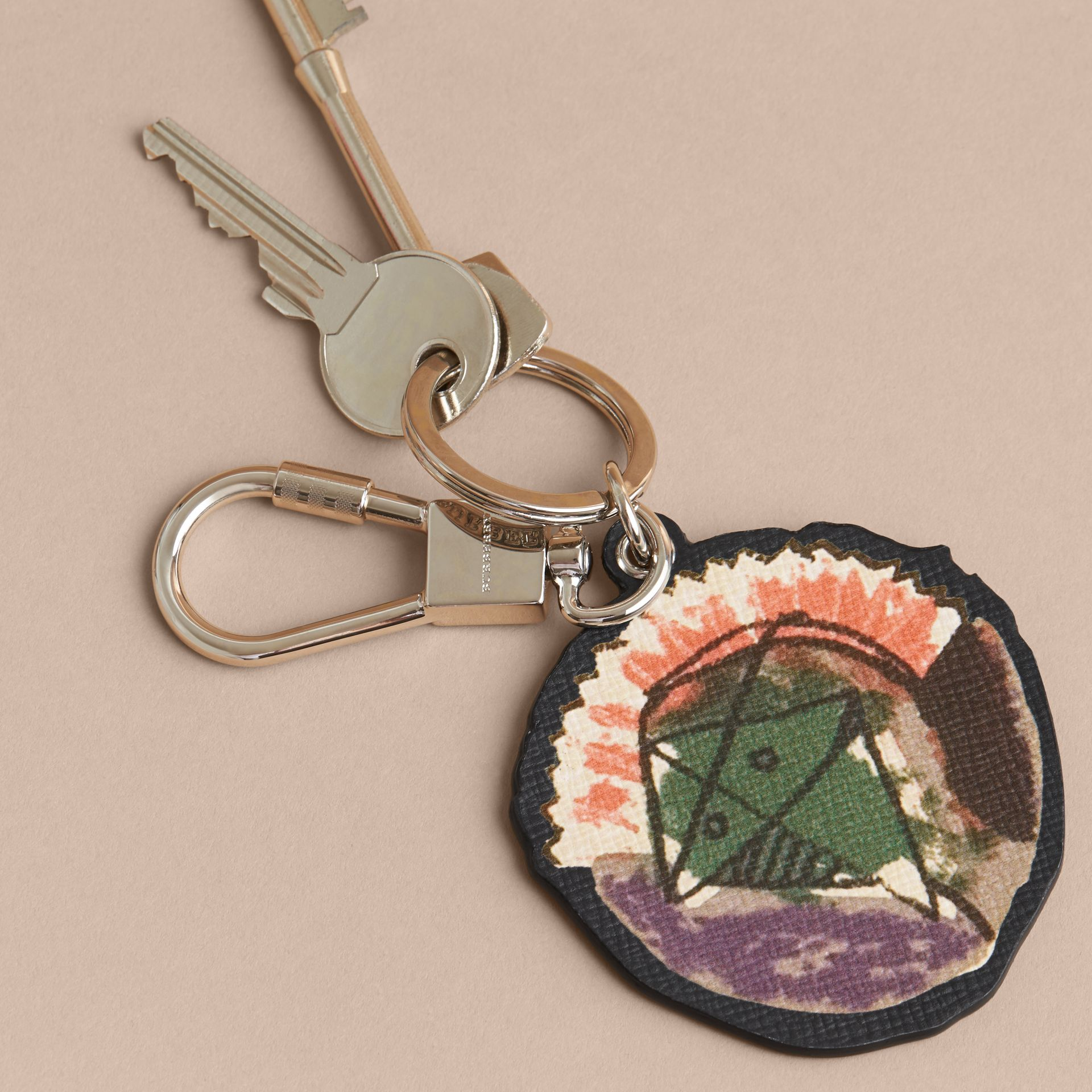 Pallas Heads Print Leather Key Ring - Men | Burberry - gallery image 3