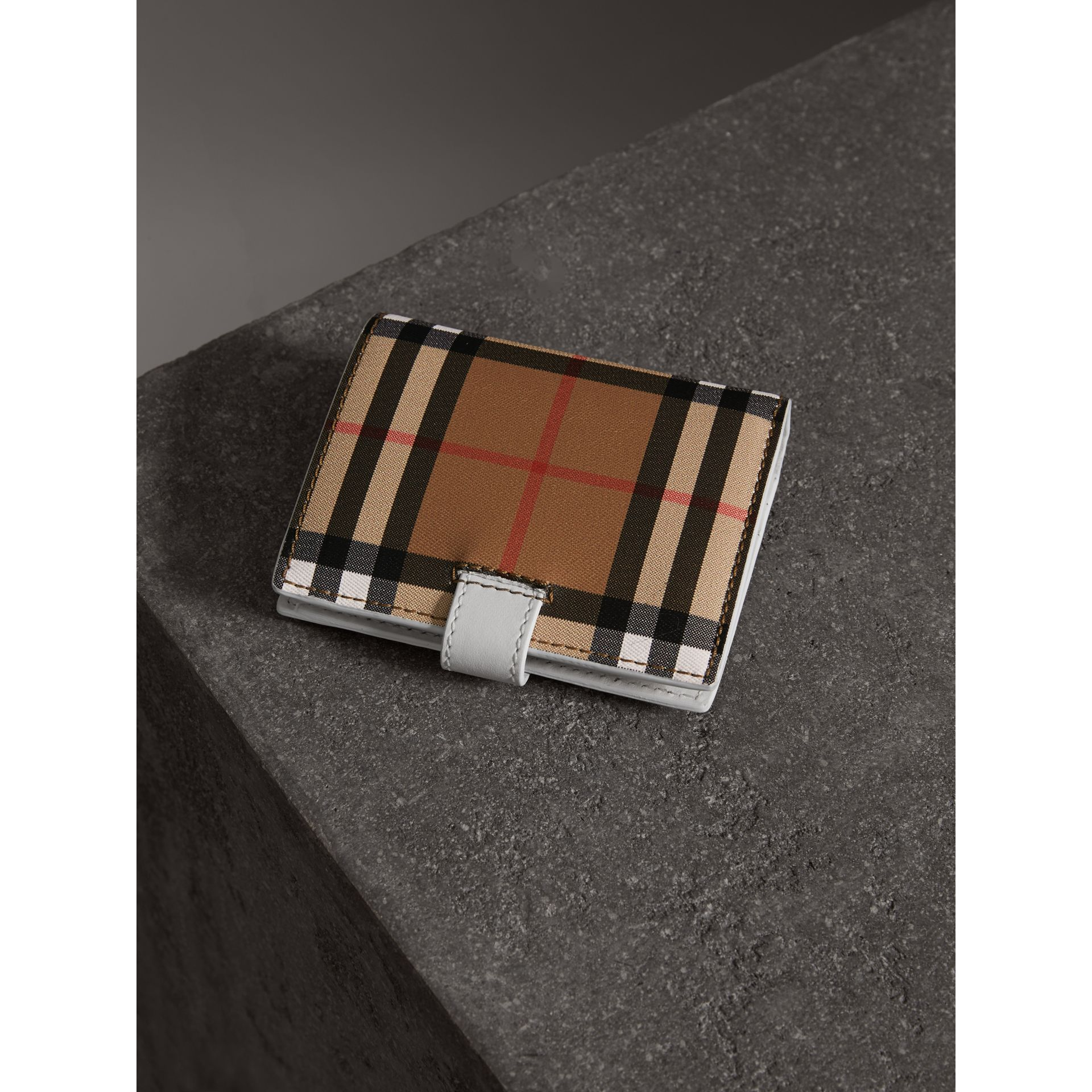Small Vintage Check and Leather Folding Wallet in Chalk White - Women | Burberry - gallery image 2