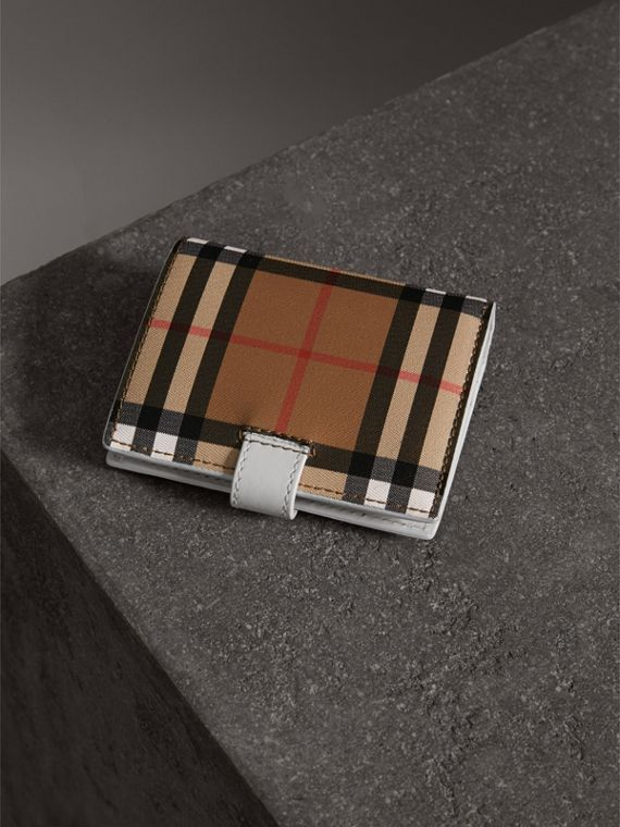 Small Vintage Check and Leather Folding Wallet in Chalk White - Women | Burberry - cell image 2
