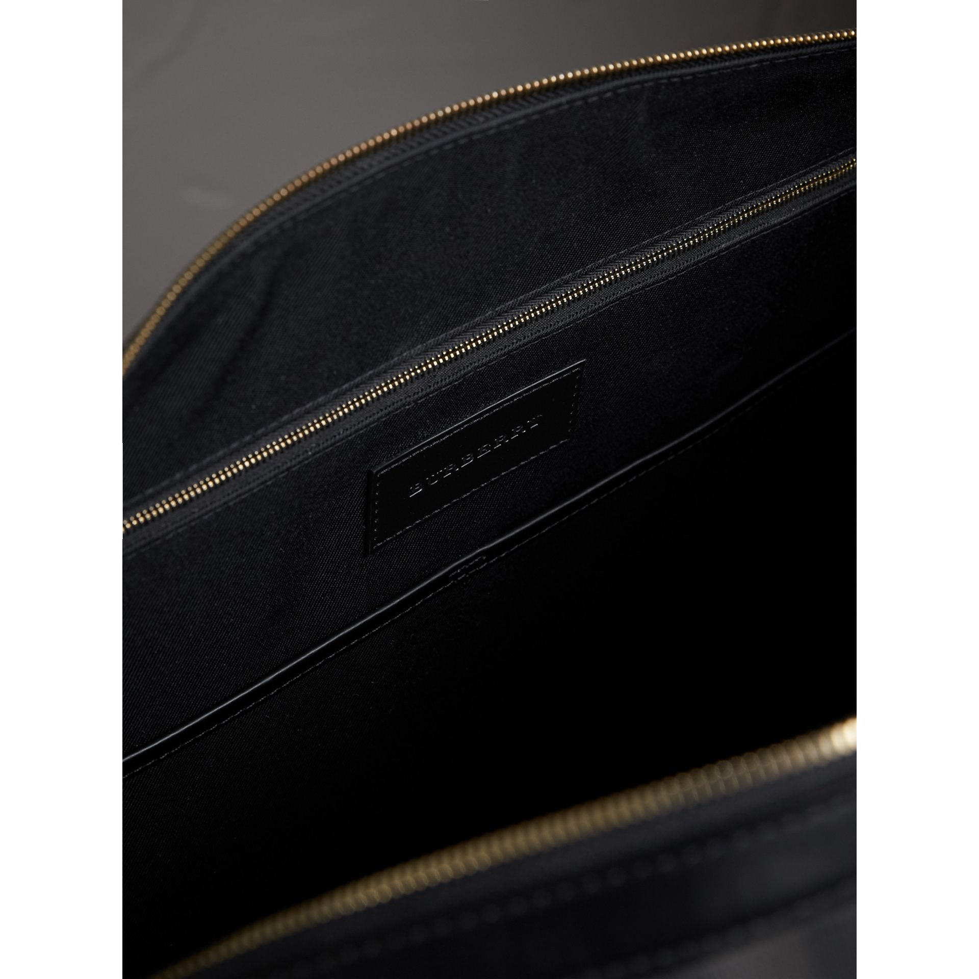 Leather Trim London Check Holdall in Chocolate/black - Men | Burberry - gallery image 5