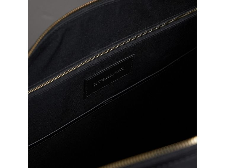 Leather Trim London Check Holdall in Chocolate/black - Men | Burberry - cell image 4