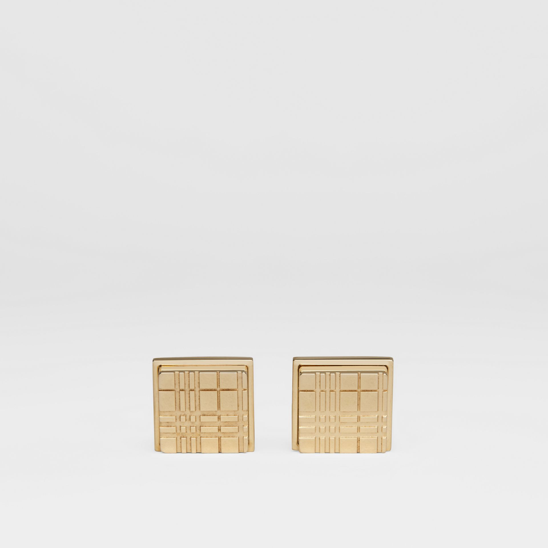 Check-engraved Square Cufflinks in Light Gold - Men | Burberry - gallery image 0