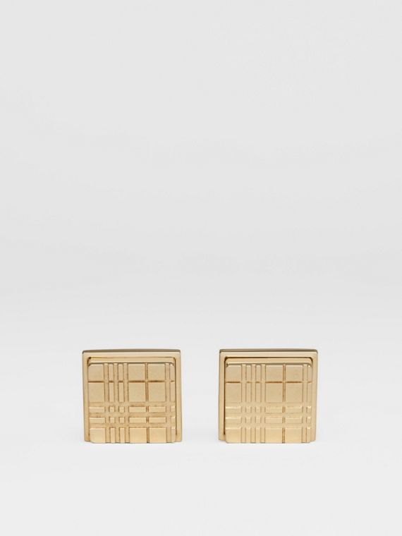 Check-engraved Square Cufflinks in Light Gold