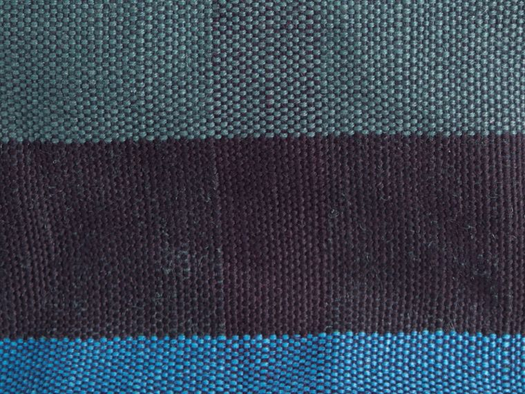 Ultramarine blue The Small Ashby in Overdyed Canvas Check and Leather Ultramarine Blue - cell image 1