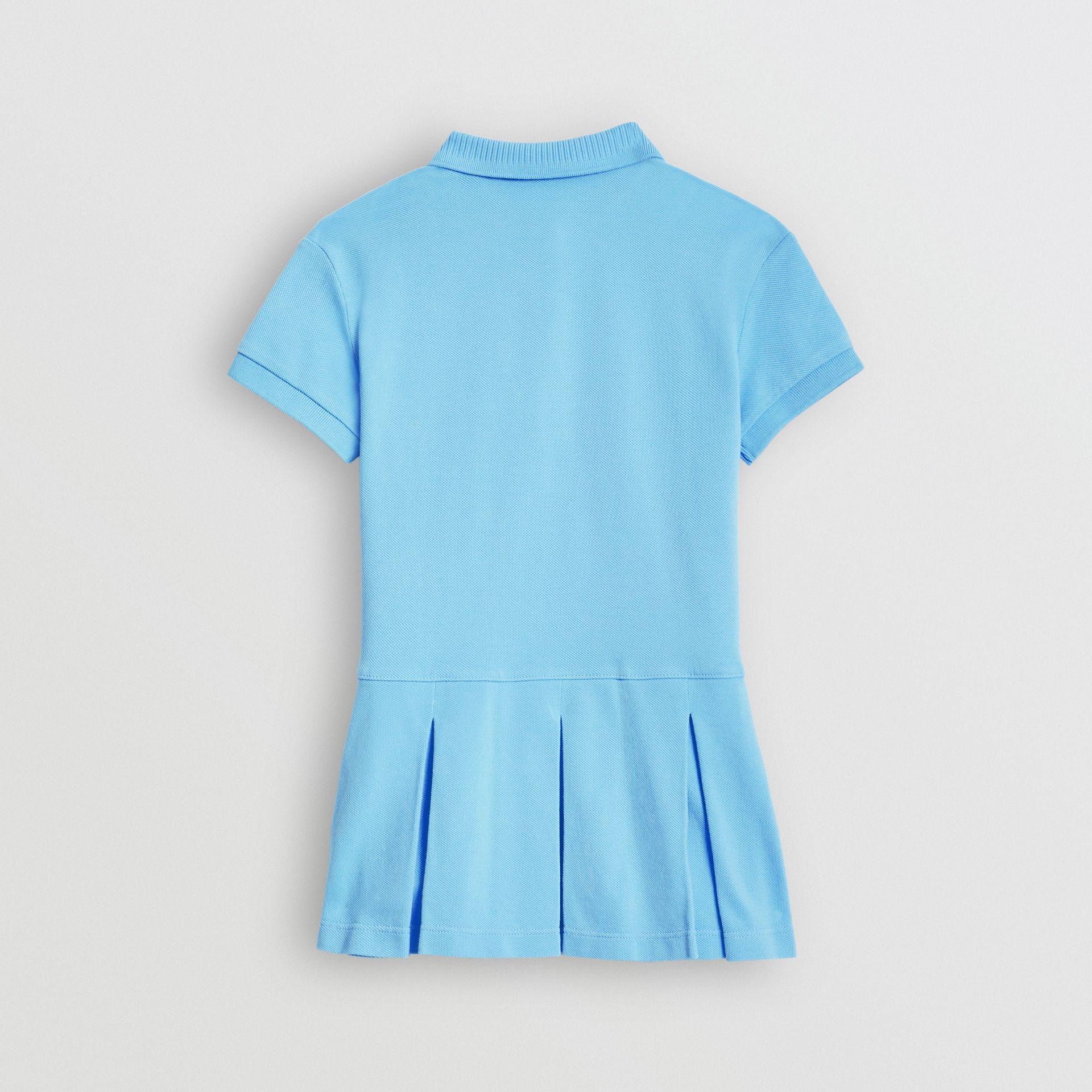 EKD Logo Cotton Polo Dress in Hydrangea Blue | Burberry - gallery image 3