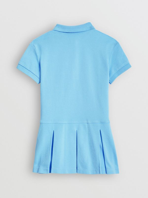 EKD Logo Cotton Polo Dress in Hydrangea Blue | Burberry - cell image 3