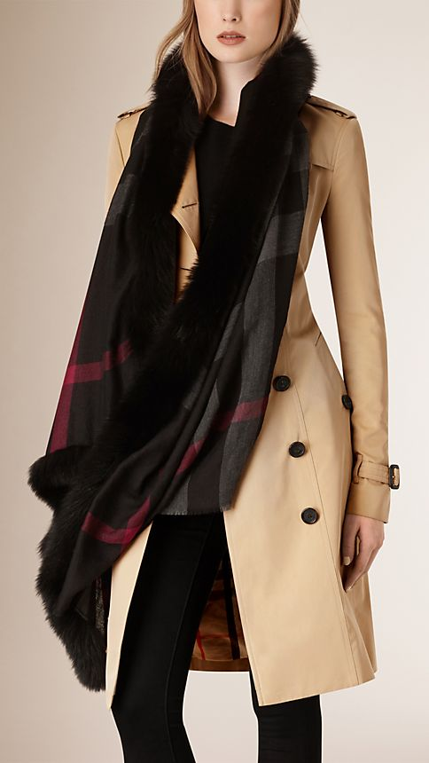 Black check Fur Trim Cashmere Check Scarf - Image 2