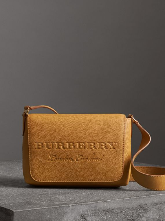 Small Embossed Leather Messenger Bag in Ochre Yellow