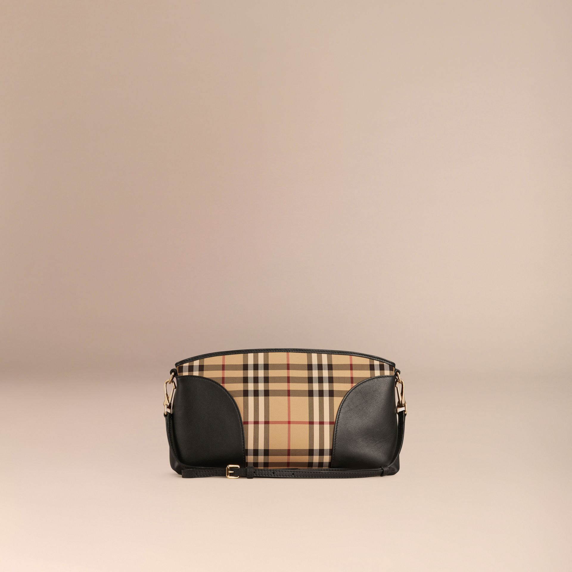 Horseferry Check and Leather Clutch Bag in Honey/black - gallery image 5