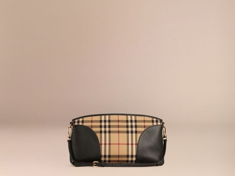 Horseferry Check and Leather Clutch Bag in Honey/black - cell image 4